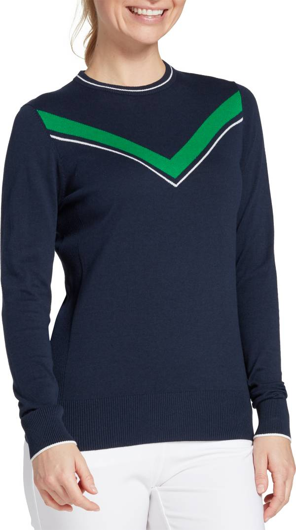 Lady Hagen Women's Green V Long Sleeve Golf Sweater product image