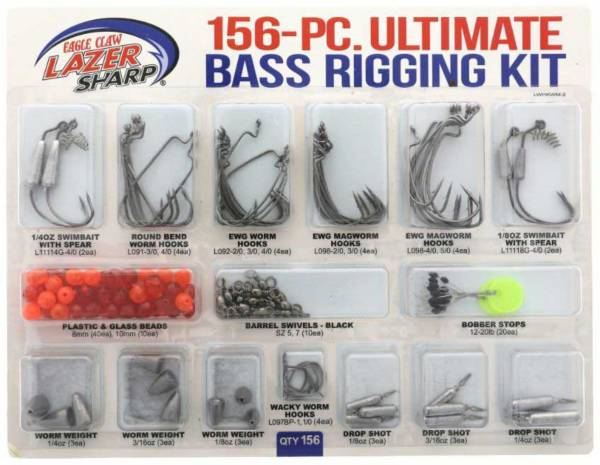 Eagle Claw Lazer Sharp Ultimate Bass Terminal Tackle Kit – 156 Pieces product image