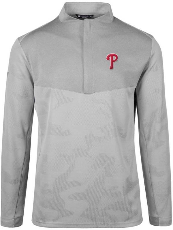 Levelwear Men's Philadelphia Phillies Grey Log Quarter-Zip Long Sleeve T-Shirt product image