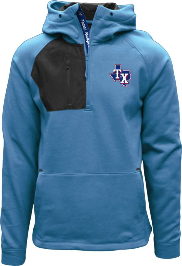 Levelwear Men's Texas Rangers Blue Long Sleeve Quarter-Zip Pullover Hoodie product image