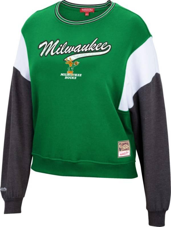 Mitchell & Ness Women's Milwaukee Bucks Green Hardwood Classics Colorblock Crew Pullover Sweatshirt product image