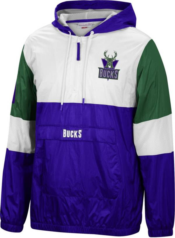 Mitchell & Ness Men's Milwaukee Bucks Purple Windbreaker Half-Zip Pullover Jacket product image