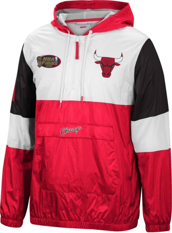 Mitchell & Ness Men's Chicago Bulls Red Windbreaker Half-Zip Pullover Jacket product image