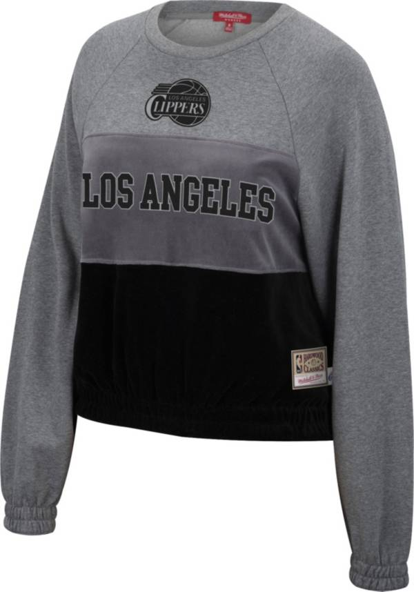 Mitchell & Ness Women's Los Angeles Clippers Grey Hardwood Classics Velour Pullover Crew-Neck Sweatshirt product image