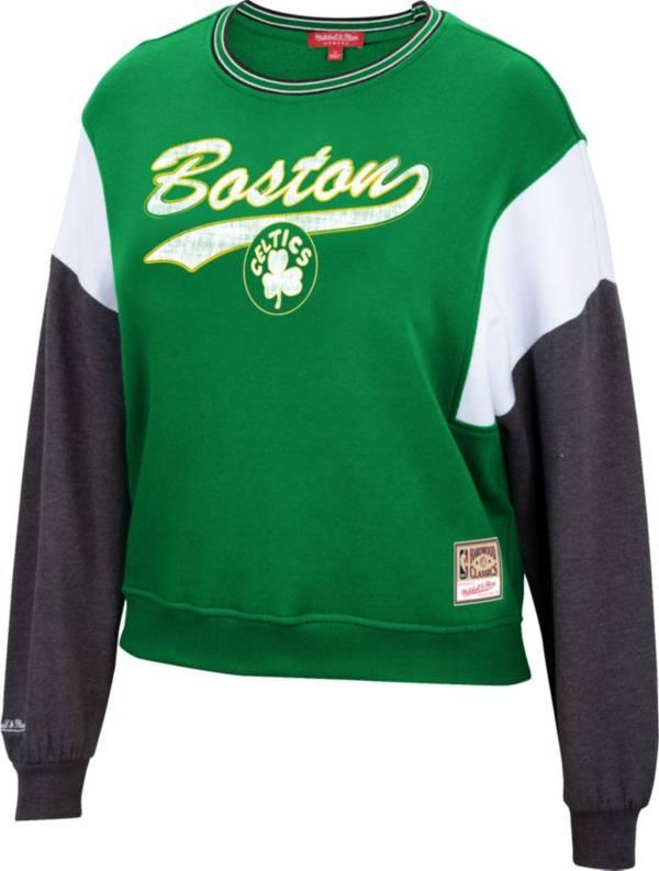 Mitchell & Ness Women's Boston Celtics Green Hardwood Classics Colorblock Crew Pullover Sweatshirt product image