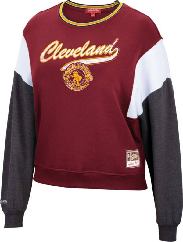 Mitchell & Ness Women's Cleveland Cavaliers Red Hardwood Classics Colorblock Crew Pullover Sweatshirt product image