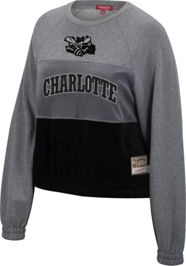 Mitchell & Ness Women's Charlotte Hornets Grey Hardwood Classics Velour Pullover Crew-Neck Sweatshirt product image