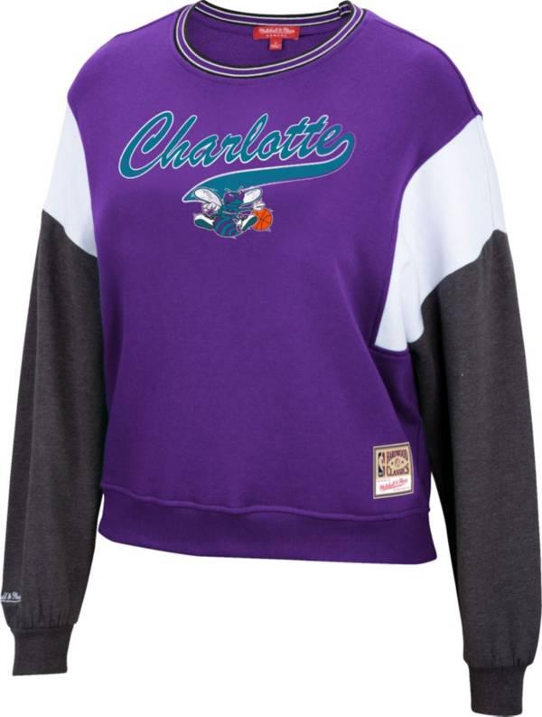 Mitchell & Ness Women's Charlotte Hornets Purple Hardwood Classics Colorblock Crew Pullover Sweatshirt product image