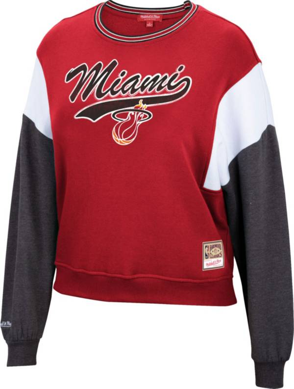 Mitchell & Ness Women's Miami Heat Red Hardwood Classics Colorblock Crew Pullover Sweatshirt product image