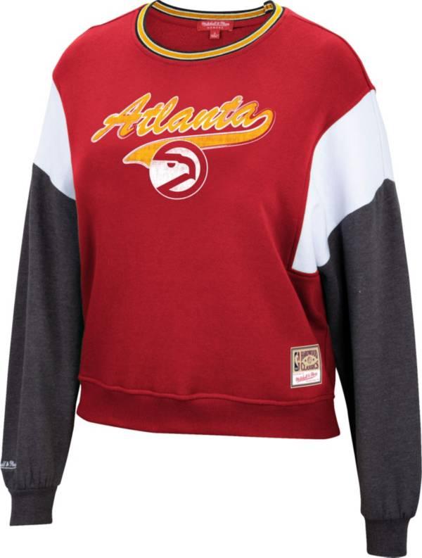 Mitchell & Ness Women's Atlanta Hawks Red Hardwood Classics Colorblock Crew Pullover Sweatshirt product image