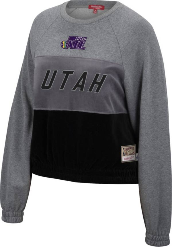 Mitchell & Ness Women's Utah Jazz Grey Hardwood Classics Velour Pullover Crew-Neck Sweatshirt product image