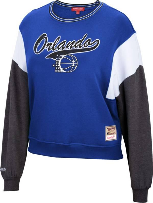 Mitchell & Ness Women's Orlando Magic Blue Hardwood Classics Colorblock Crew Pullover Sweatshirt product image