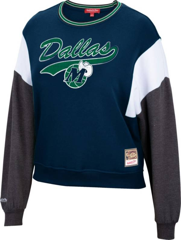 Mitchell & Ness Women's Dallas Mavericks Navy Hardwood Classics Colorblock Crew Pullover Sweatshirt product image