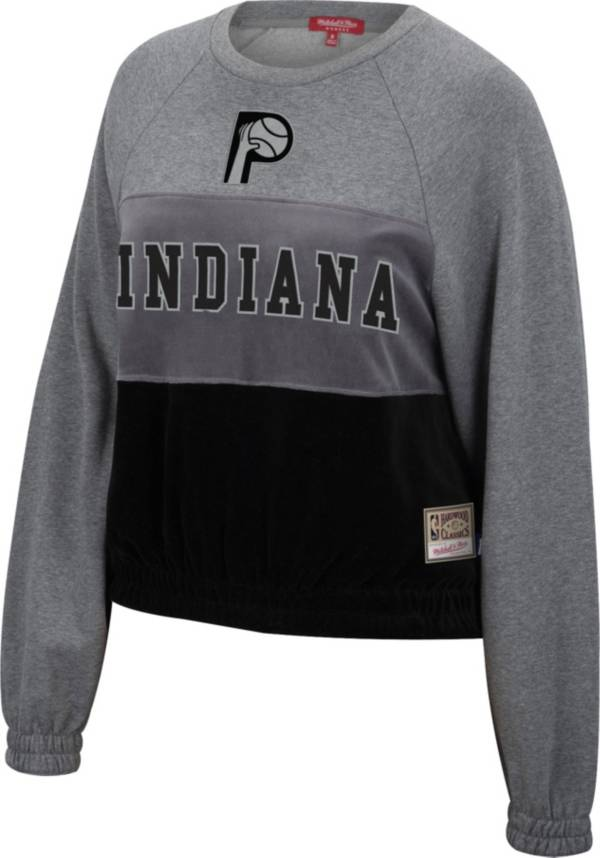 Mitchell & Ness Women's Indiana Pacers Grey Hardwood Classics Velour Pullover Crew-Neck Sweatshirt product image