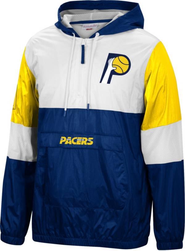 Mitchell & Ness Men's Indiana Pacers Navy Windbreaker Half-Zip Pullover Jacket product image