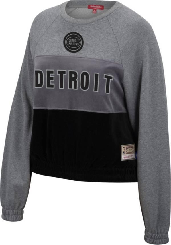 Mitchell & Ness Women's Detroit Pistons Grey Hardwood Classics Velour Pullover Crew-Neck Sweatshirt product image