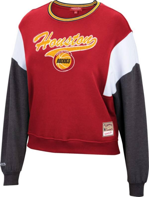 Mitchell & Ness Women's Houston Rockets Red Hardwood Classics Colorblock Crew Pullover Sweatshirt product image