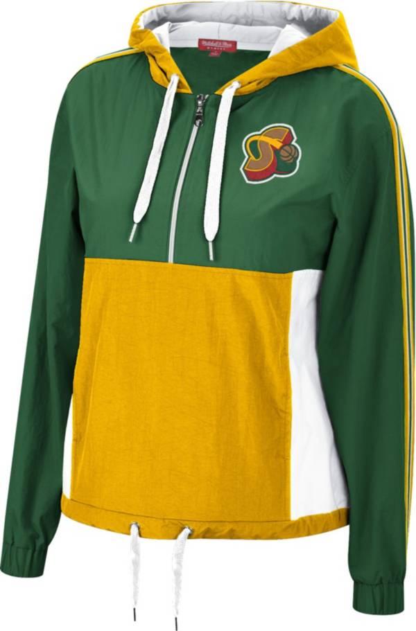 Mitchell & Ness Women's Seattle SuperSonics Green Windbreaker Half-Zip Pullover Jacket product image
