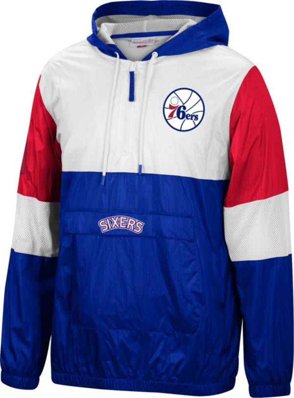 Mitchell & Ness Men's Philadelphia 76ers Blue Windbreaker Half-Zip Pullover Jacket product image