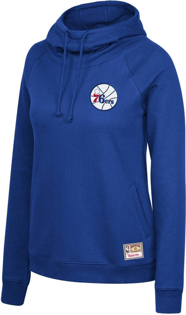 Mitchell & Ness Women's Philadelphia 76ers Blue Funnel Neck Pullover Hoodie product image