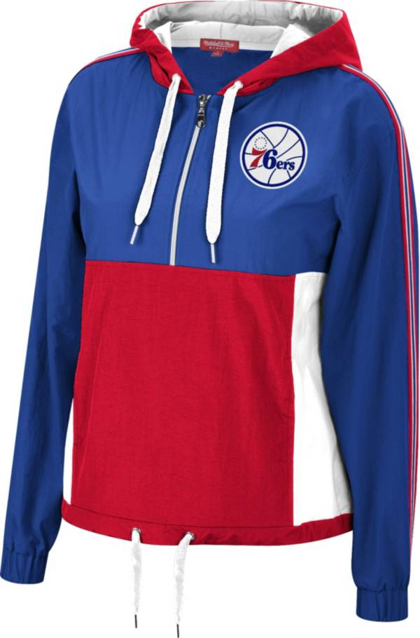 Mitchell & Ness Women's Philadelphia 76ers Blue Windbreaker Half-Zip Pullover Jacket product image