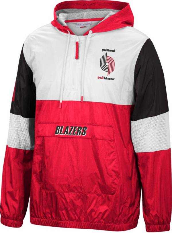 Mitchell & Ness Men's Portland Trail Blazers Red Windbreaker Half-Zip Pullover Jacket product image