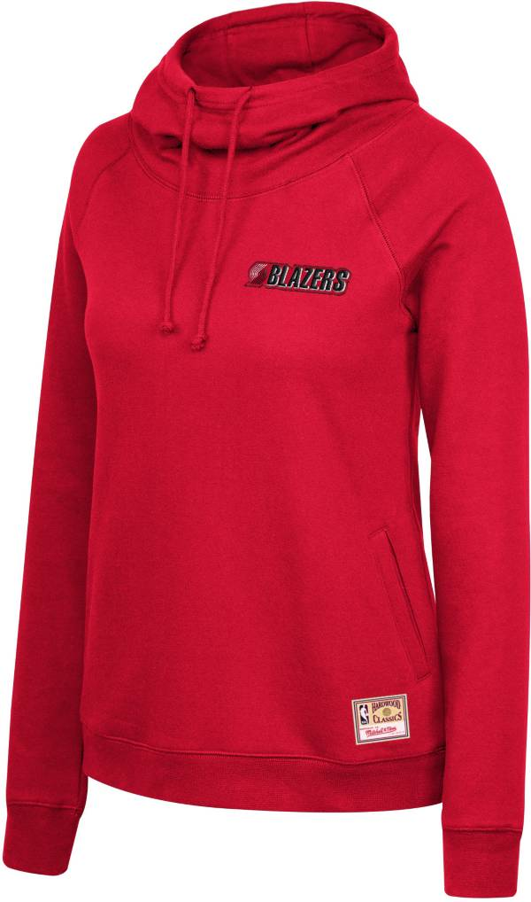 Mitchell & Ness Women's Portland Trail Blazers Red Funnel Neck Pullover Hoodie product image