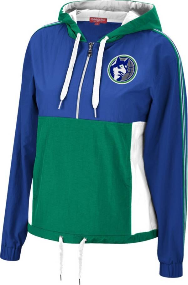 Mitchell & Ness Women's Minnesota Timberwolves Blue Windbreaker Half-Zip Pullover Jacket product image