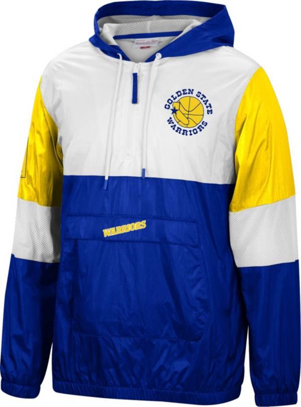 Mitchell & Ness Men's Golden State Warriors Blue Windbreaker Half-Zip Pullover Jacket product image