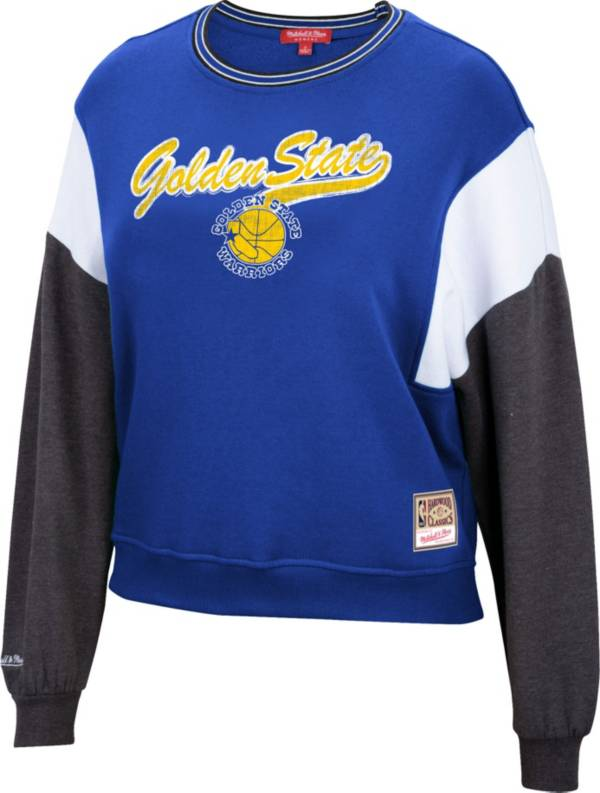 Mitchell & Ness Women's Golden State Warriors Blue Hardwood Classics Colorblock Crew Pullover Sweatshirt product image