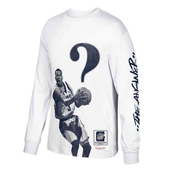 Mitchell & Ness Men's Georgetown Hoyas Allen Iverson Quest Long Sleeve White T-Shirt product image