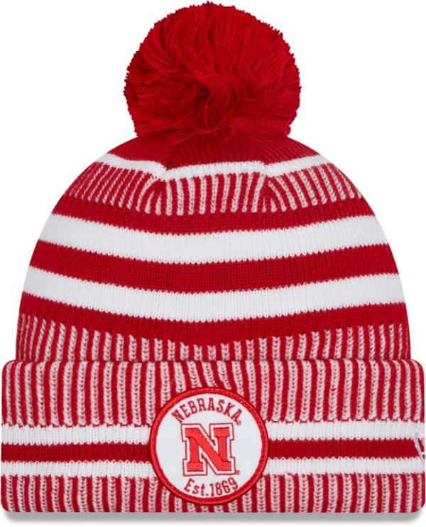 New Era Men's Nebraska Cornhuskers Scarlet Sport Knit Pom Beanie product image