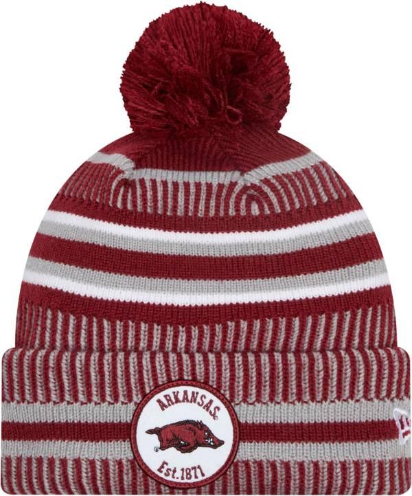 New Era Men's Arkansas Razorbacks Cardinal Knit Pom Beanie product image