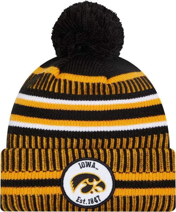 New Era Men's Iowa Hawkeyes Knit Pom Black Beanie product image