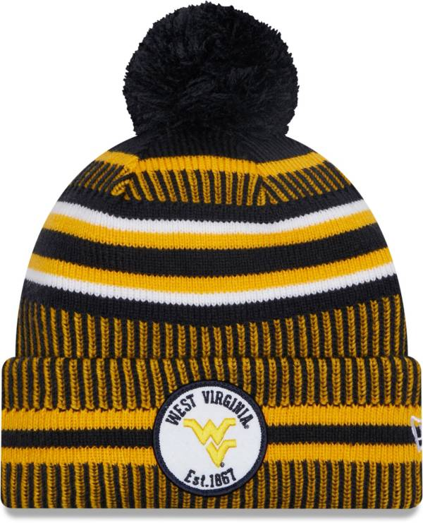 New Era Men's West Virginia Mountaineers Blue Sport Knit Pom Beanie product image