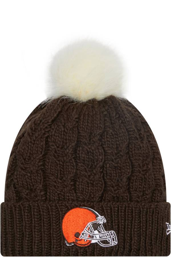 New Era Women's Cleveland Browns Brown Flurry Knit Pom Beanie product image