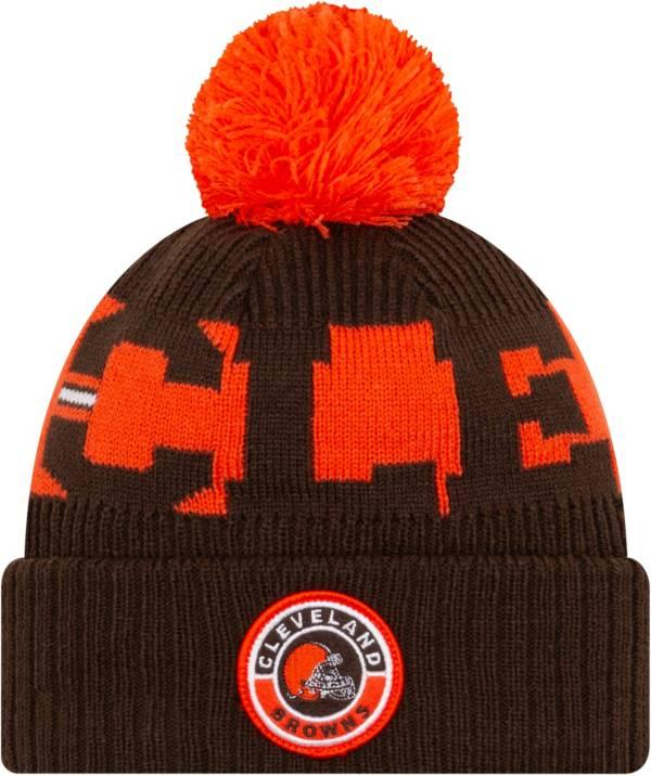 New Era Men's Cleveland Browns Sideline Sport Brown Knit Hat product image