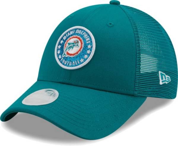 New Era Women's Miami Dolphins Aqua Sparkle Adjustable Trucker Hat product image