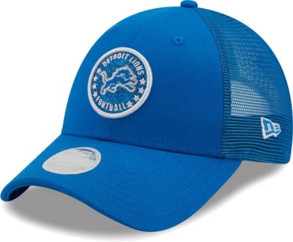New Era Women's Detroit Lions Blue Sparkle Adjustable Trucker Hat product image