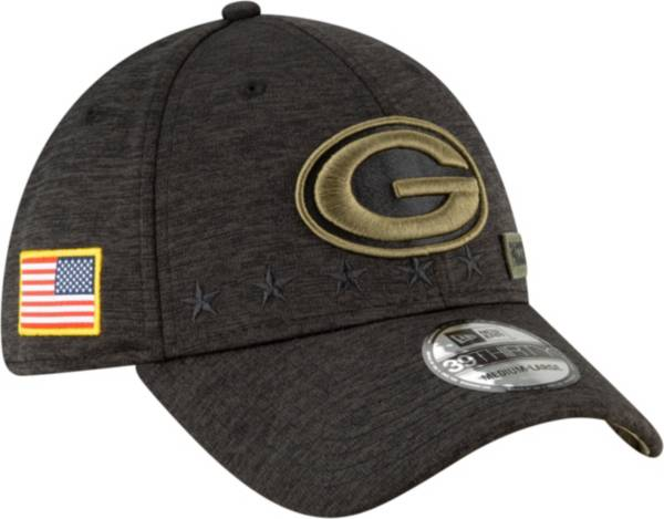 New Era Men's Salute to Service Green Bay Packers 39Thirty Stretch Fit Black Hat product image