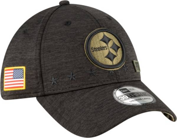 New Era Men's Salute to Service Pittsburgh Steelers 39Thirty Stretch Fit Black Hat product image