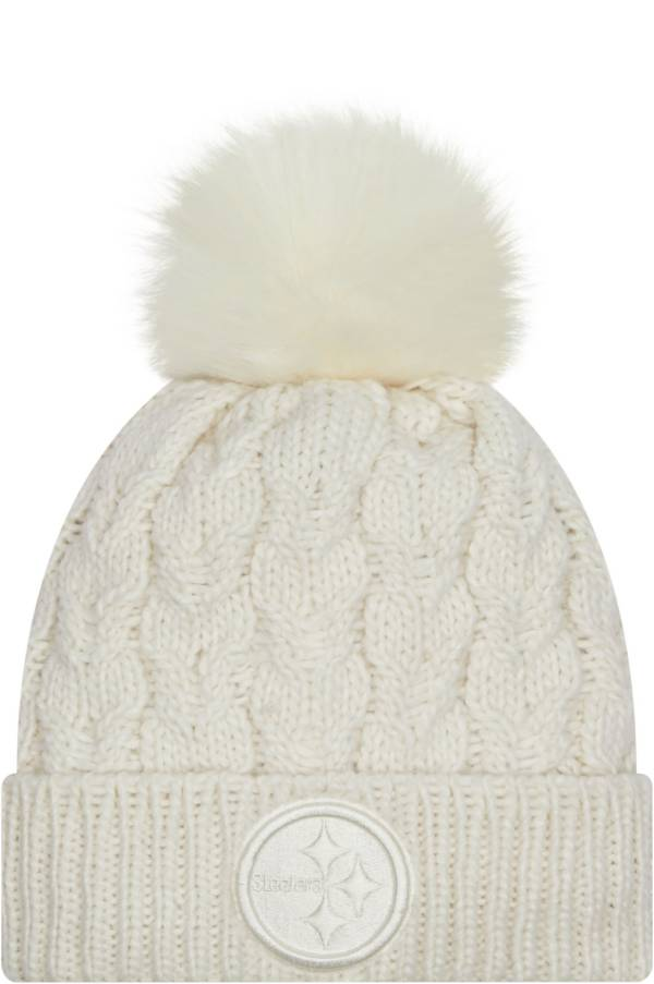 New Era Women's Pittsburgh Steelers White Flurry Knit Pom Beanie product image