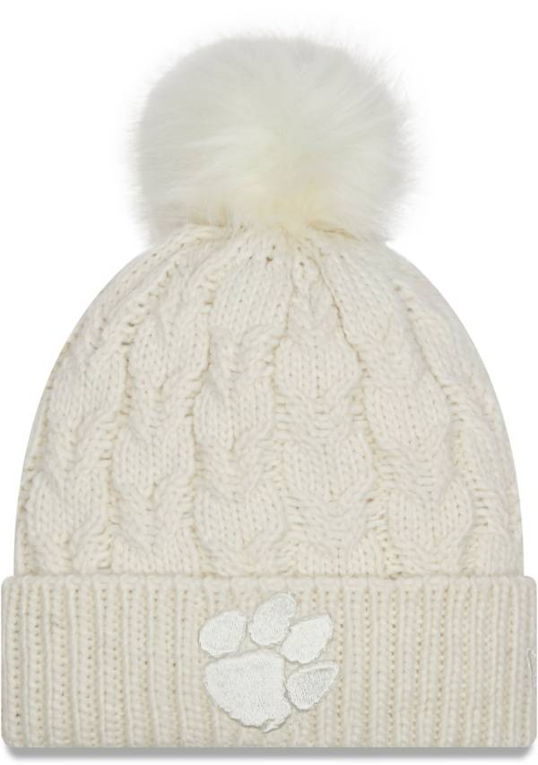 New Era Women's Clemson Tigers Flurry Knit Pom White Beanie product image