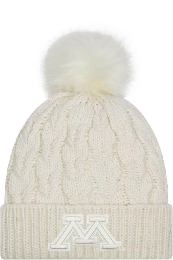 New Era Women's Minnesota Golden Gophers Knit Pom White Beanie product image