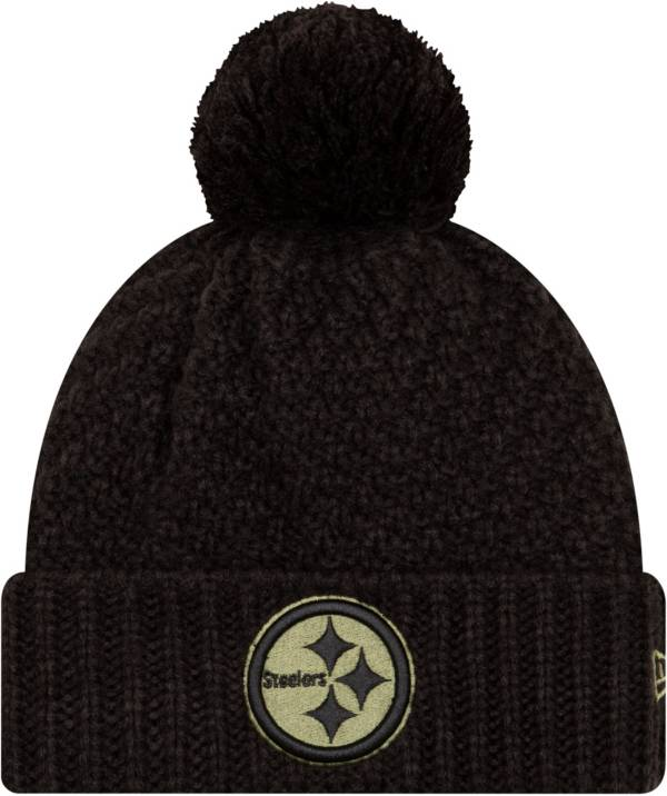 New Era Women's Salute to Service Pittsburgh Steelers Black Pom Knit Hat product image