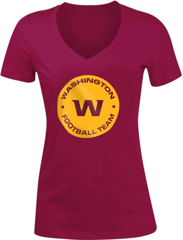 New Era Women's Washington Football Team Red Logo V-Neck T-Shirt product image