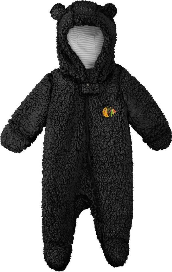 NHL Toddler Chicago Blackhawks Nap Teddy Fleece Footed Black Onesie product image