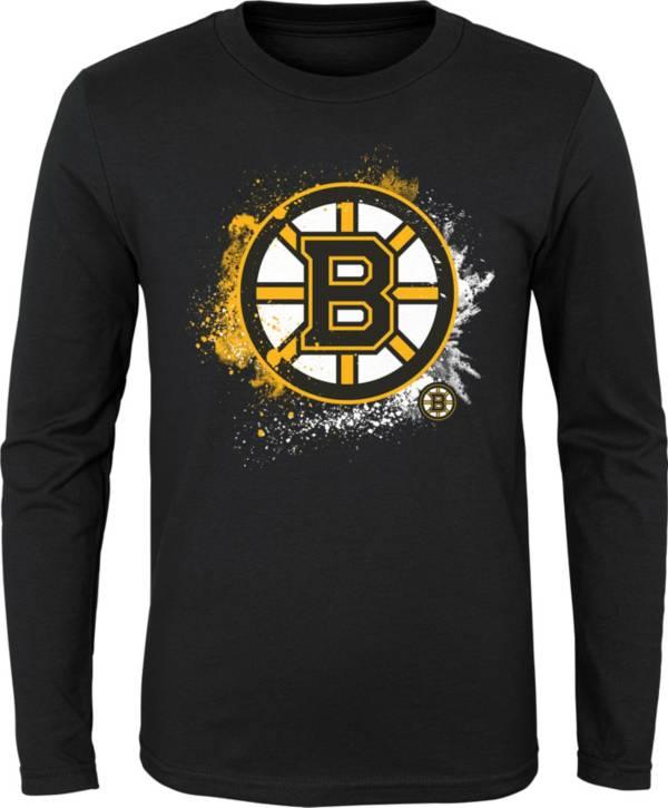 NHL Youth Boston Bruins Splashin' Black Long Sleeve Shirt product image
