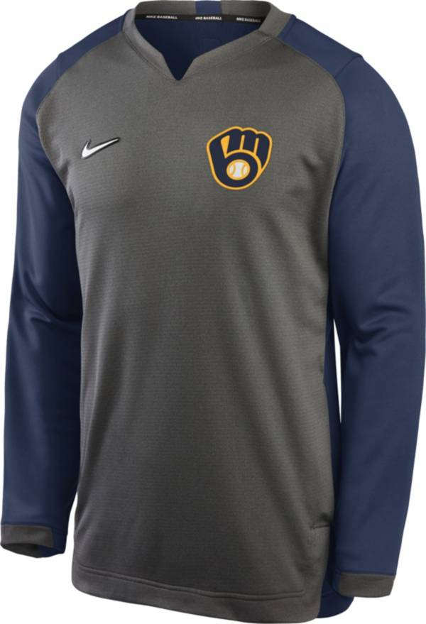 Nike Men's Milwaukee Brewers Gray Dri-FIT Thermal Crew T-Shirt product image