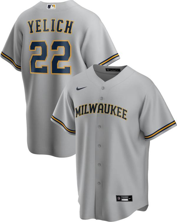 Nike Men's Replica Milwaukee Brewers Christian Yelich #22 Cool Base Gray Jersey product image